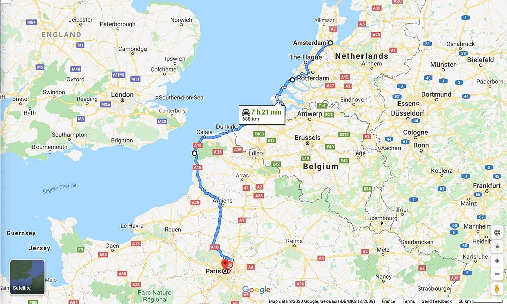 Map of a road trip from Amsterdam to Paris