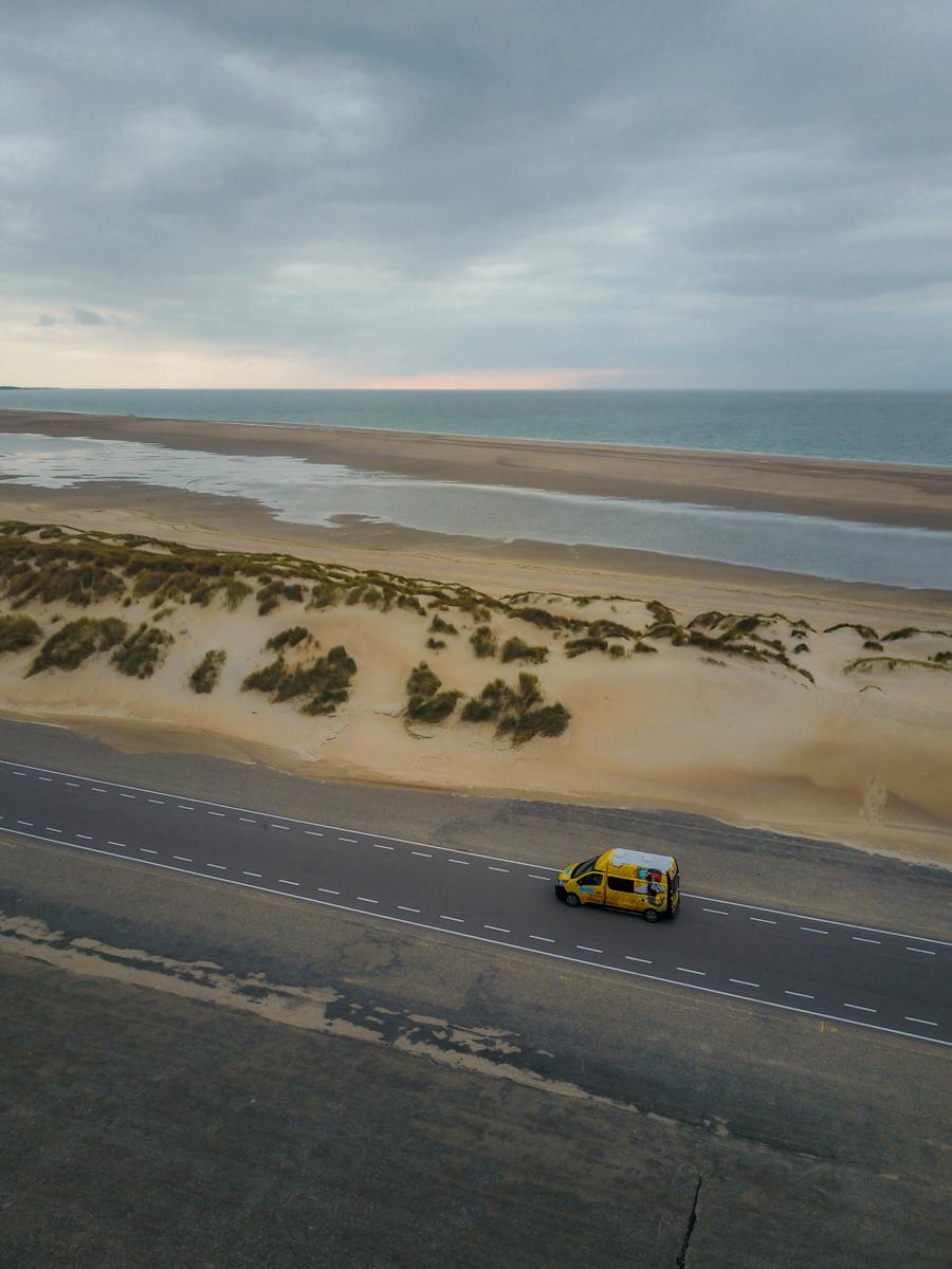 Camper Van by the North sea, aerial