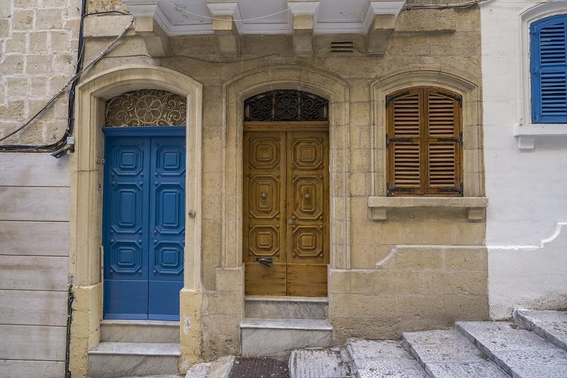 Colorful door Facade In Malta, typical architecture