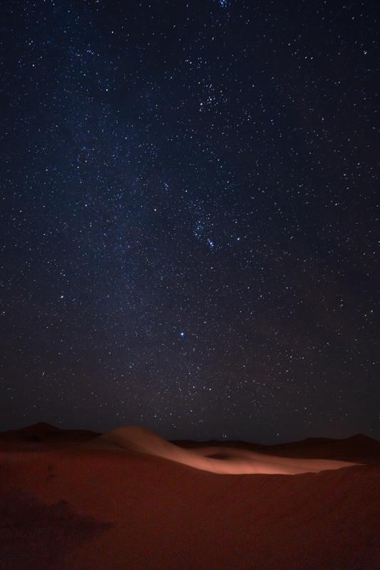 Milky way above the Sahara desert at night