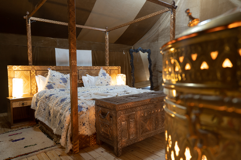 Luxury desert tent with berber African decoration, Sahara glamping