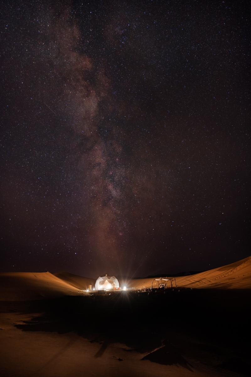 Dome Tent in desert at night