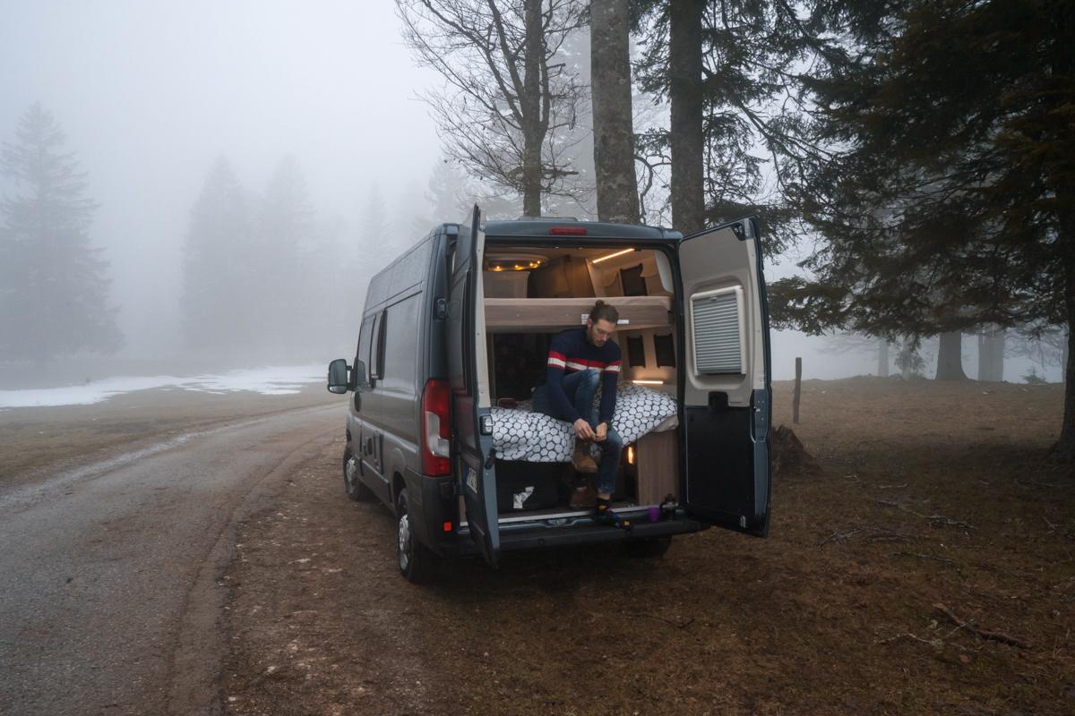 A man in his luxury camper van