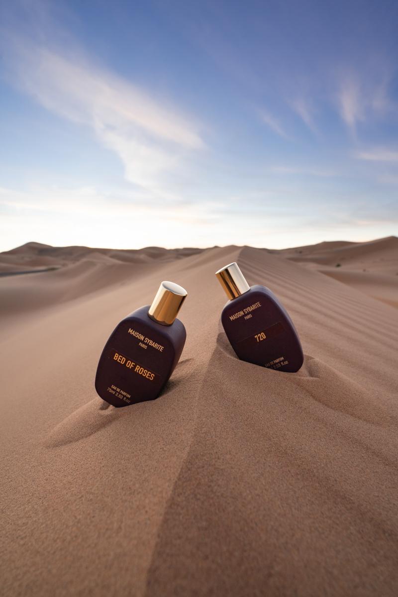 Perfume bottle photoshoot in the Sahara Desert