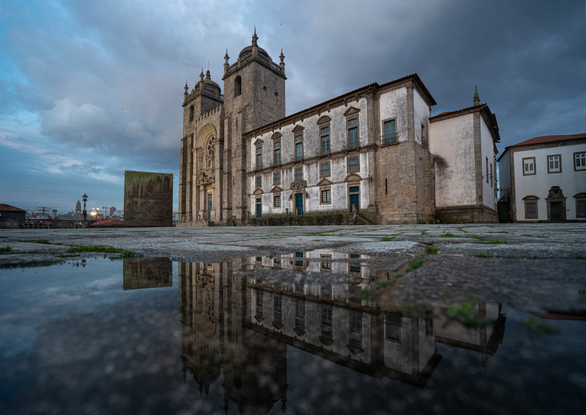 Wide angle and reflection of Porto Cathedral