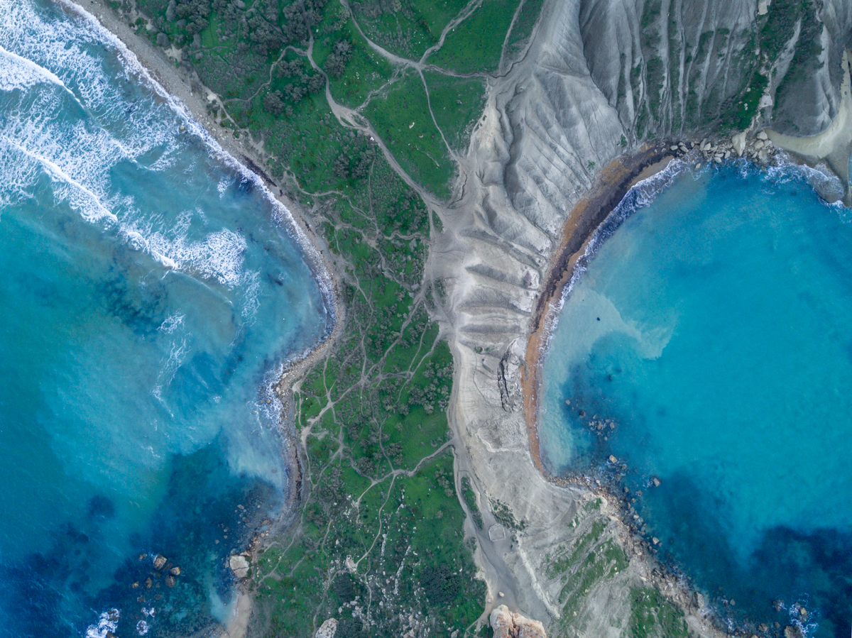 Aerial drone, Golden Bay beach in Malta, Ghajn tuffieha