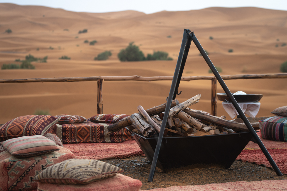 Bonfire an seating area facing the Desert